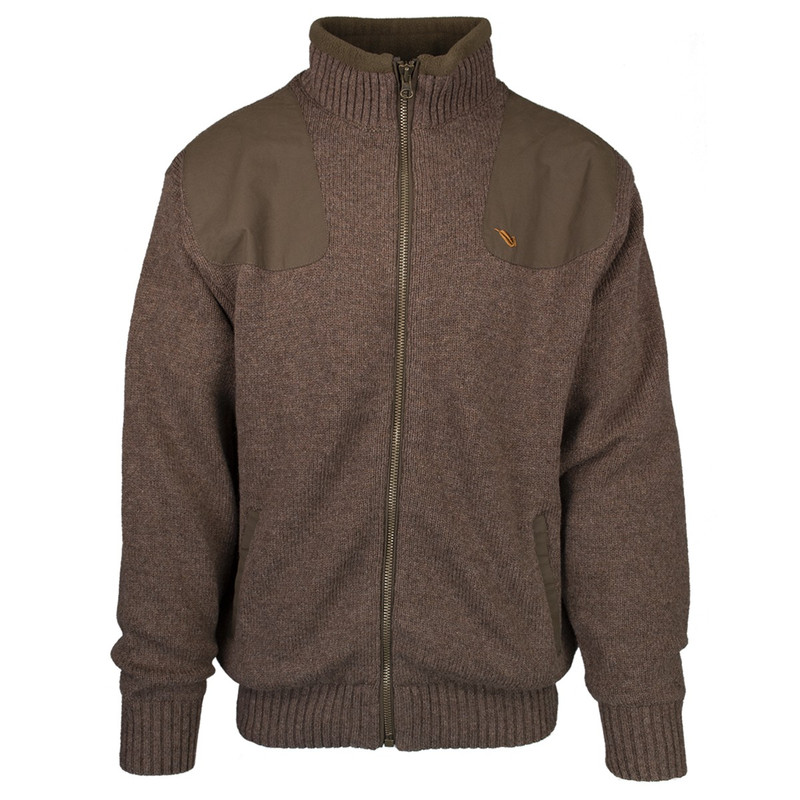MPW Geridge WindTamer Wool Full Zip Sweater in Brown Color