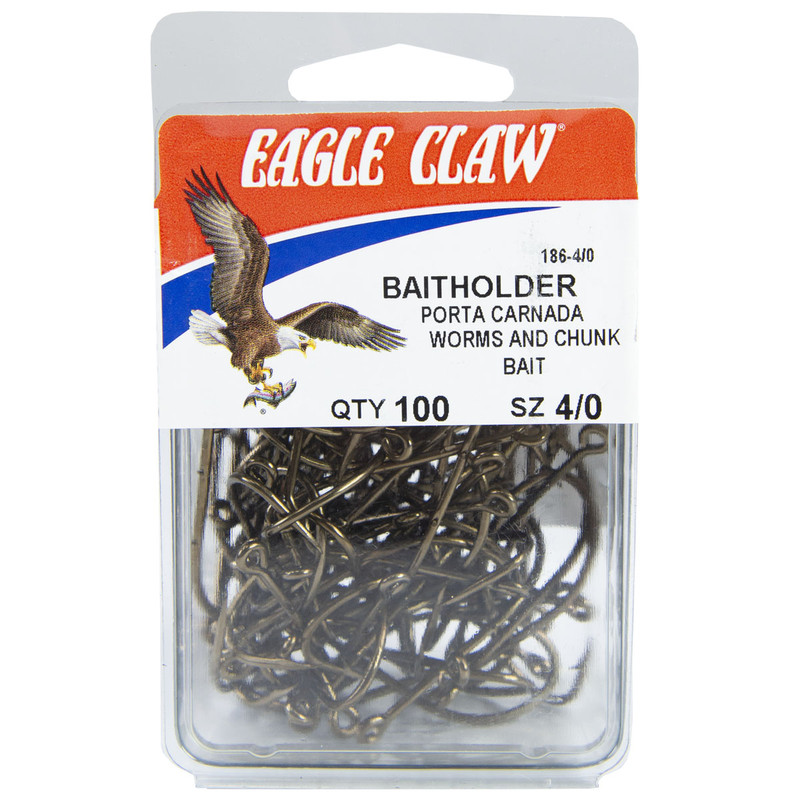 Eagle Claw Single Baitholder Hook Bronze 100 Count in 40 ALL SIZES