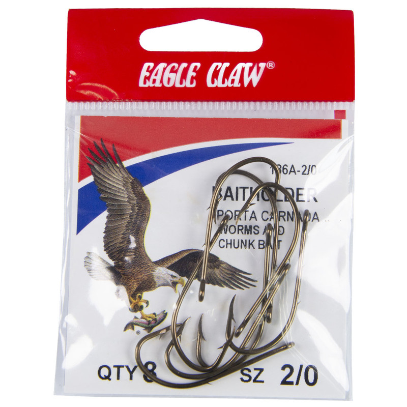 Eagle Claw Baitholder 2 Slices Offset Hook, Bronze (Per 8) in 20 ALL SIZES