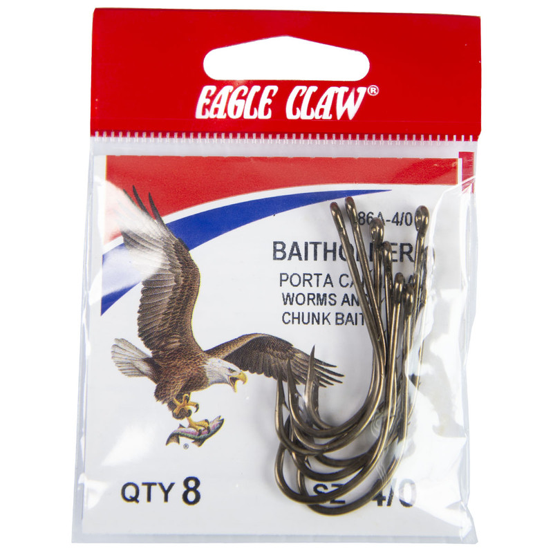 Eagle Claw Baitholder 2 Slices Offset Hook, Bronze (Per 8) in 40 ALL SIZES