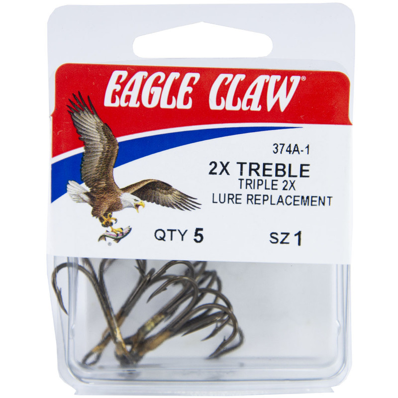 Eagle Claw 2x Double and Treble Hook, Curved Point