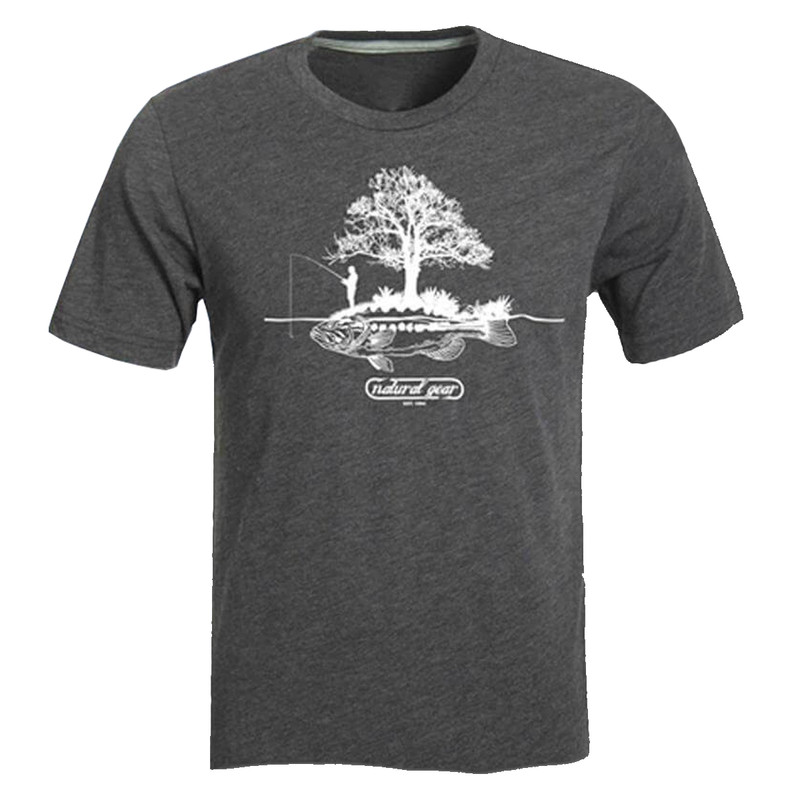 Natural Gear Fish Island Logo Short Sleeve T-Shirt in Charcoal Heather Color