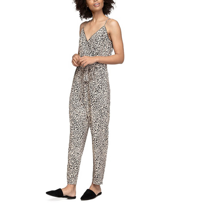 Naked Zebra Gianna Leopard Jumpsuit in Taupe Color