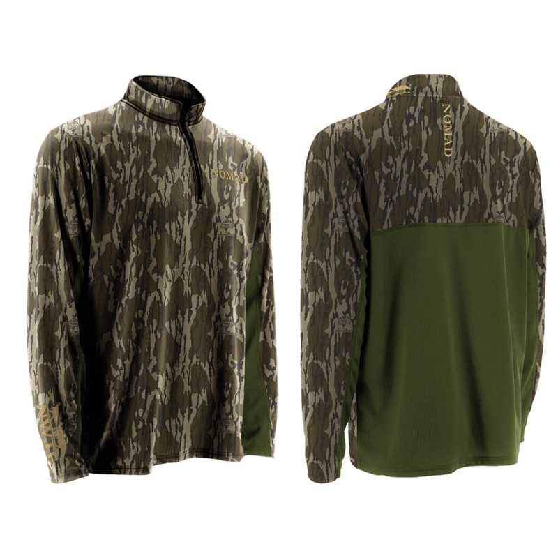 Nomad NWTF Quarter Zip Long Sleeve Cooling Tee in Mossy Oak Bottomland Color