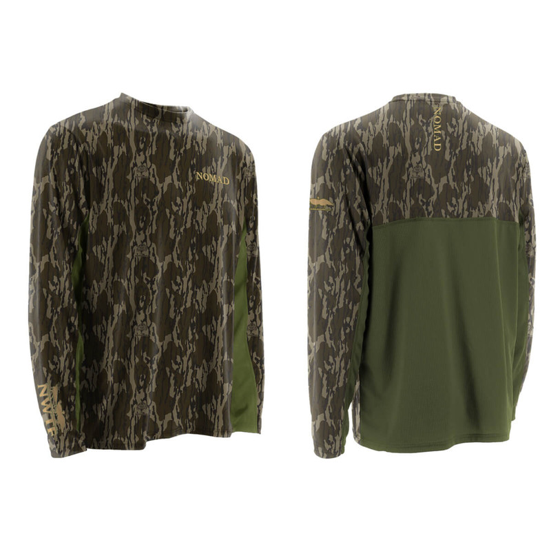 Nomad NWTF Long Sleeve Cooling Tee in Mossy Oak Bottomland Color