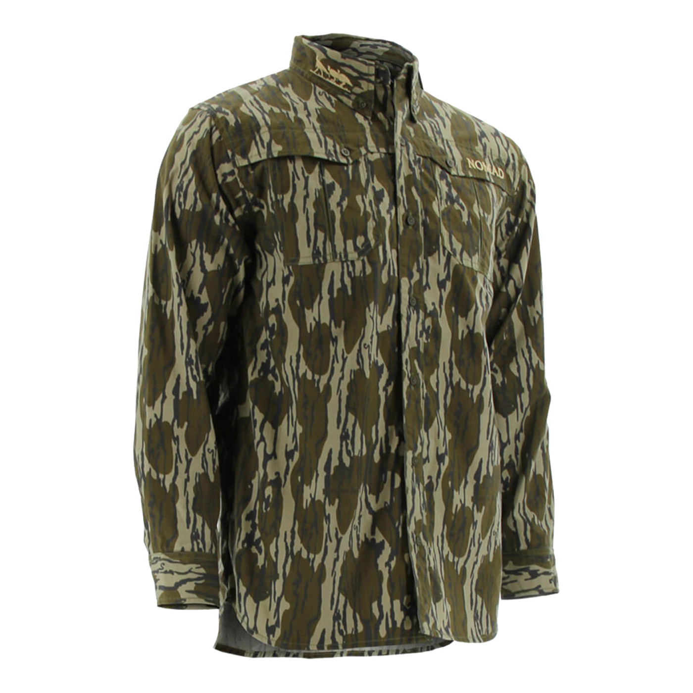 Nomad NWTF Long Sleeve Button Down Shirt in Mossy Oak Bottomland Color