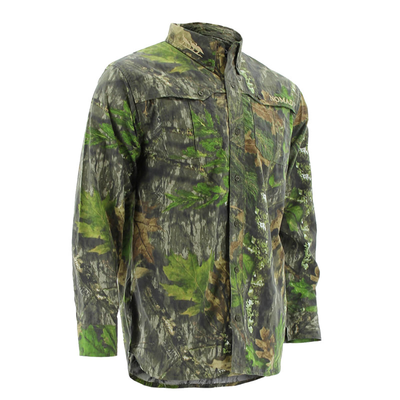 Nomad NWTF Long Sleeve Button Down Shirt in Mossy Oak Obsession Color