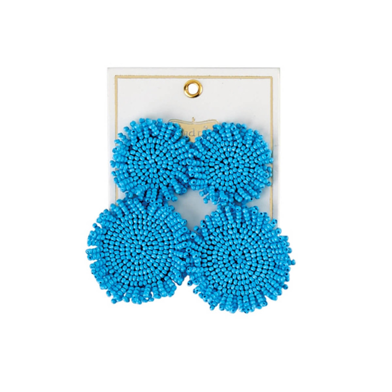 One Coast Beaded Circle Earrings in Blue Color