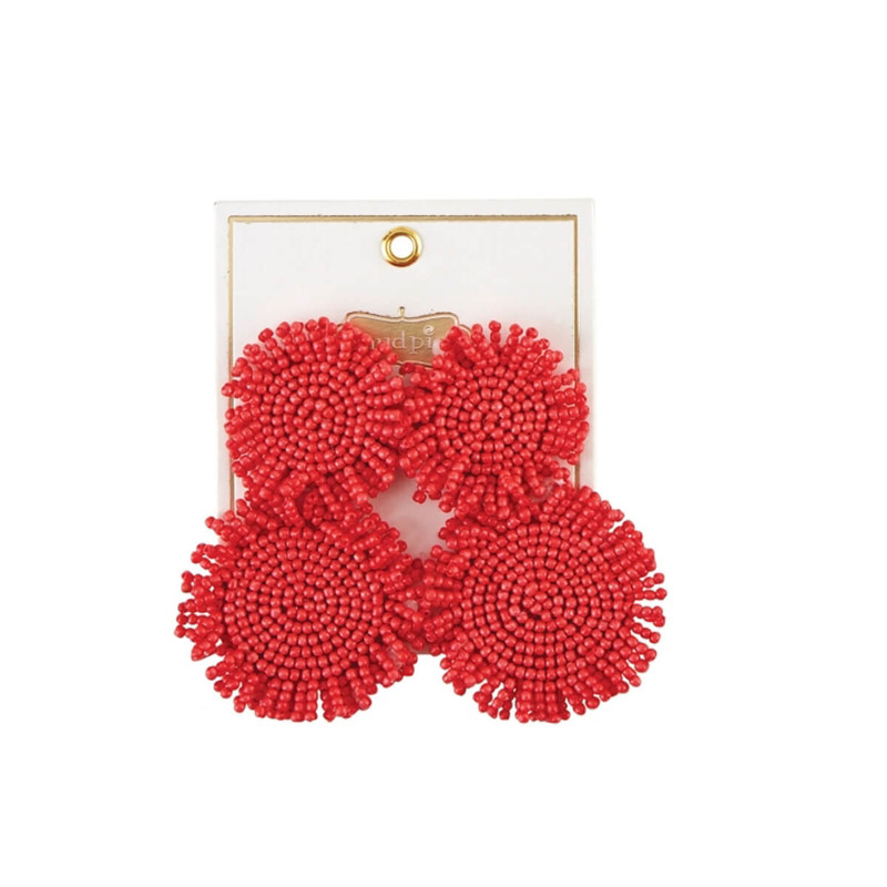 One Coast Beaded Circle Earrings in Coral Color