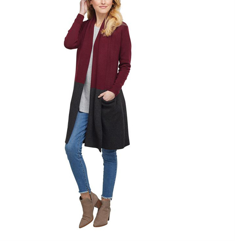 Mud Pie Ford Colorblock Cardigan in Burgundy Color