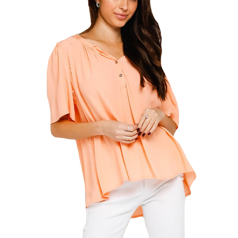 Olivaceous Frayed Button-Up Shirt in Sweet Tart Color