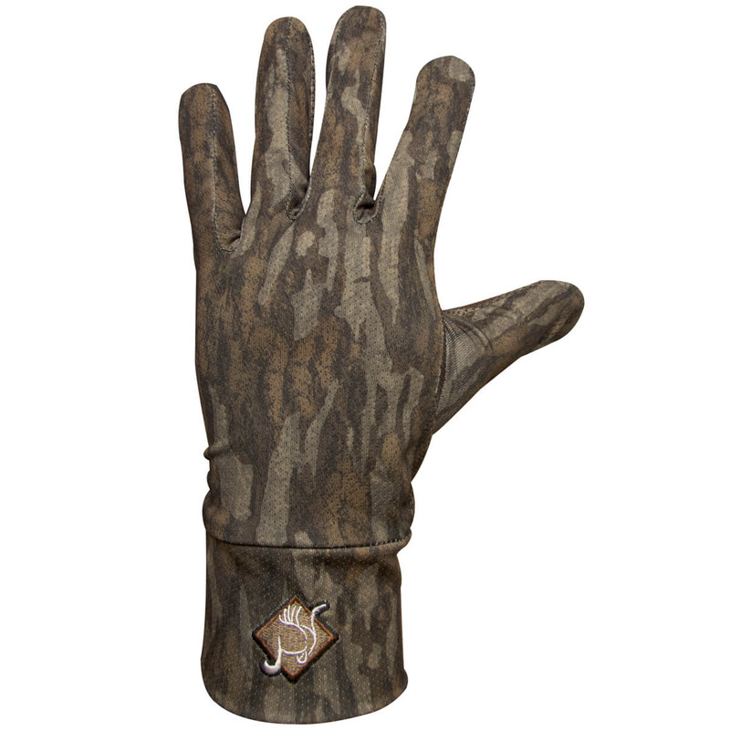 Ol' Tom Stretch Fit Hunting Gloves in Mossy Oak Bottomland Color