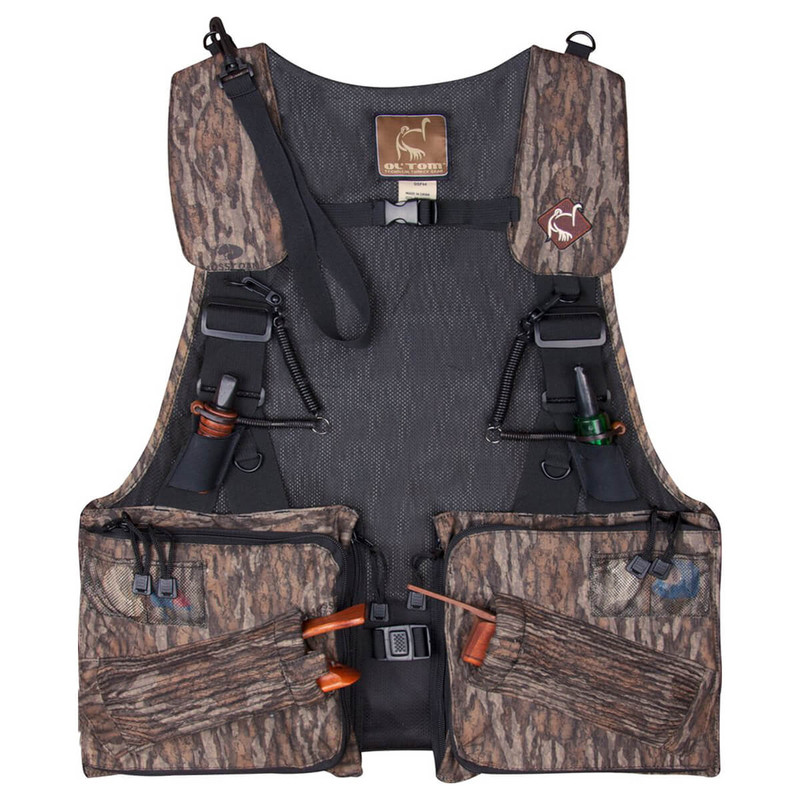 Ol' Tom Dura-Lite Time & Motion Strap Turkey Vest in Mossy Oak Bottomland Color