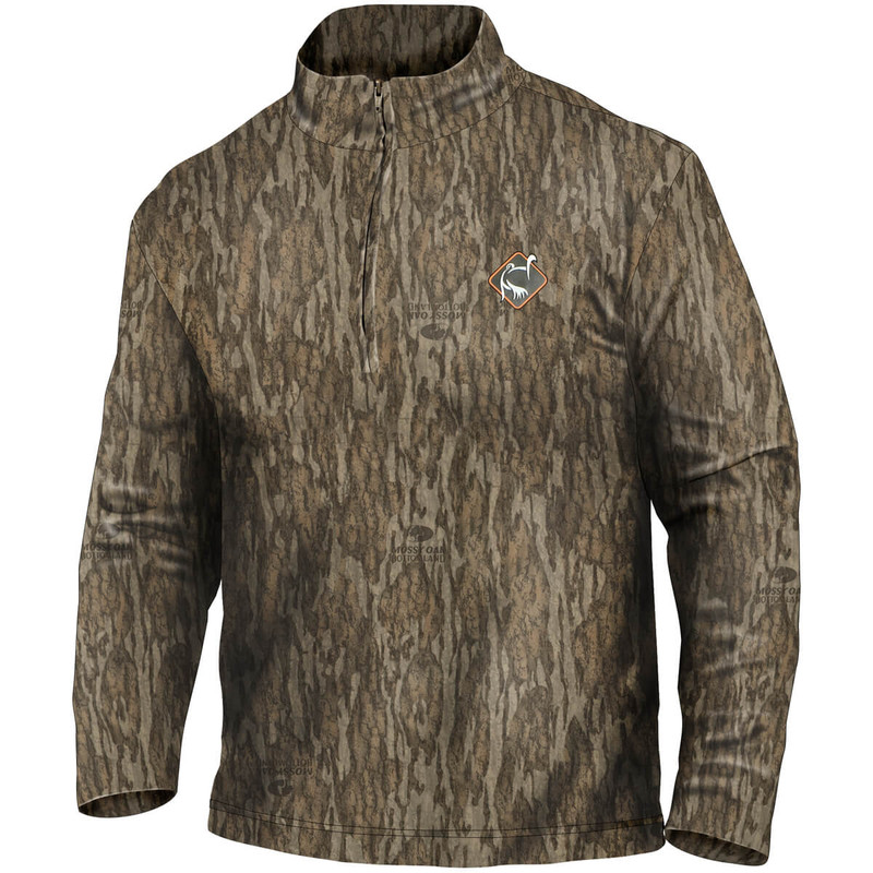 Ol' Tom Long Sleeve Performance Quarter Zip Hunting Shirt in Mossy Oak Bottomland Color