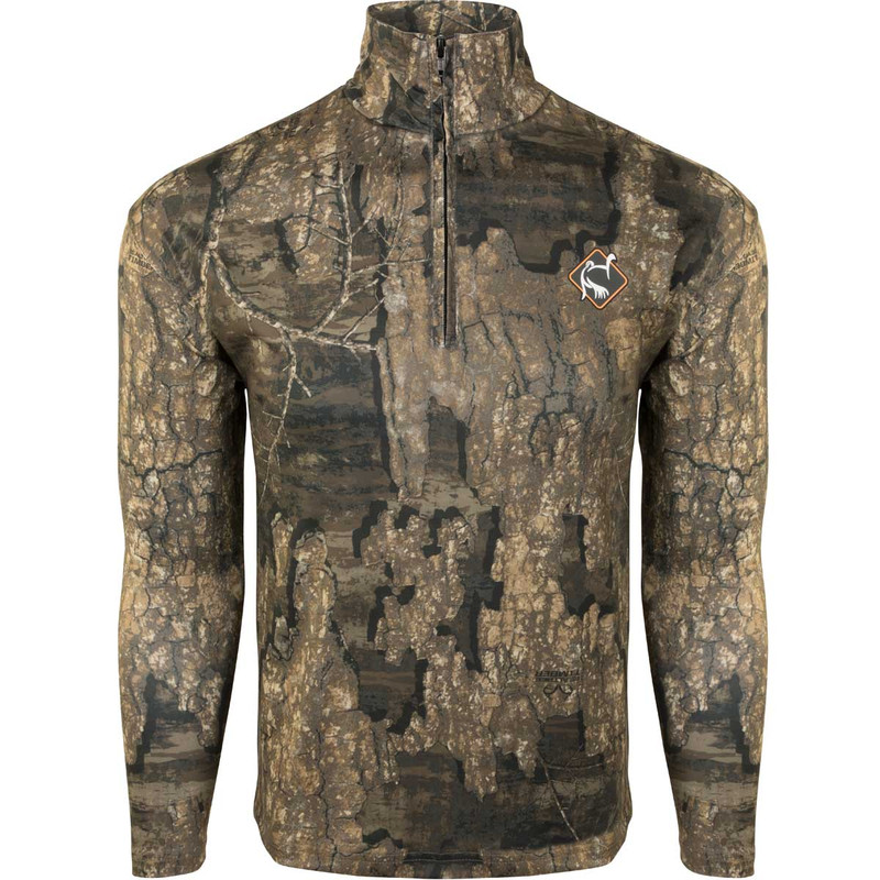 Ol' Tom Long Sleeve Performance Quarter Zip Hunting Shirt in Realtree Timber Color