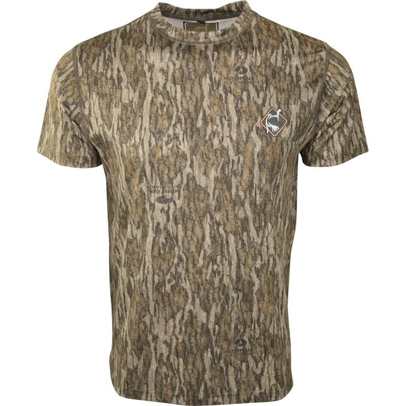 Ol' Tom Performance Short Sleeve Crew Shirt in Mossy Oak Bottomland Color