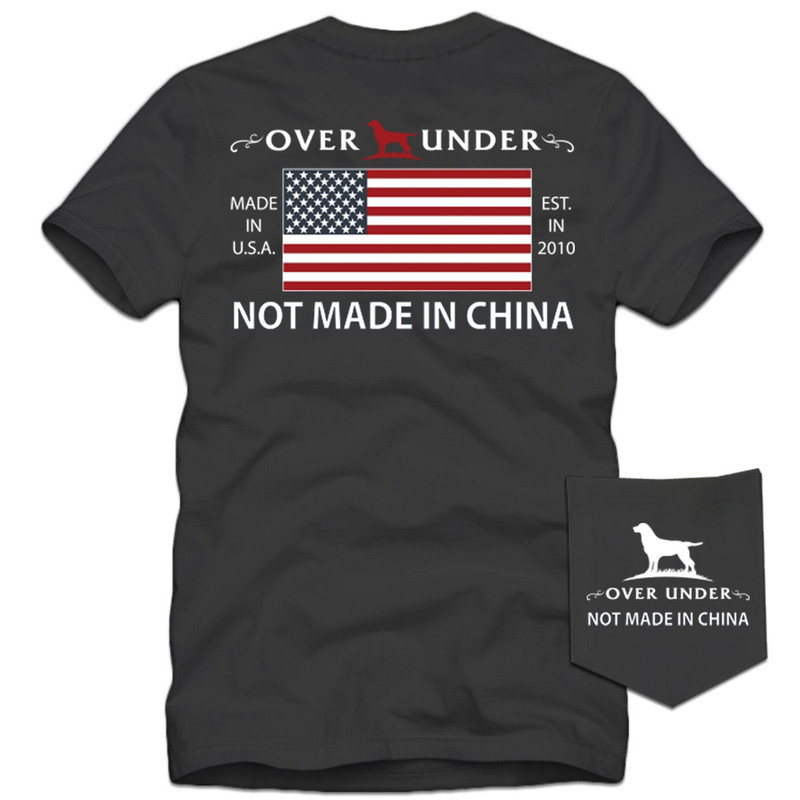 Over Under Adult Short Sleeve Not Made in China Tee in Charcoal Color