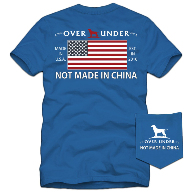 Over Under Adult Short Sleeve Not Made in China Tee in Nautical Blue Color