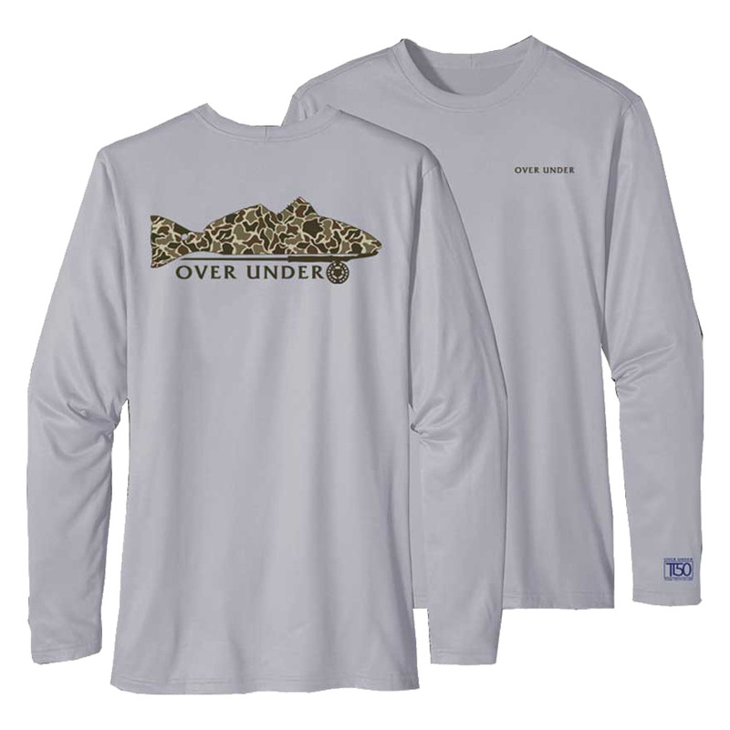 Over Under Long Sleeve Tidal Tech Redfish on Fly in Charcoal Color
