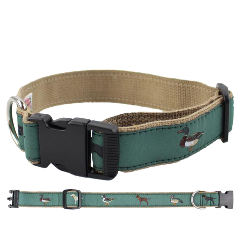 Over Under Ribbon Dog Collar - The Gang's All Here in green