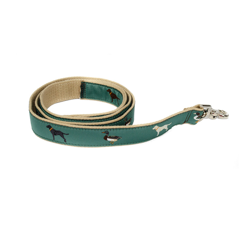 Over Under The Gangs All Here Ribbon Dog Leash in Green Color