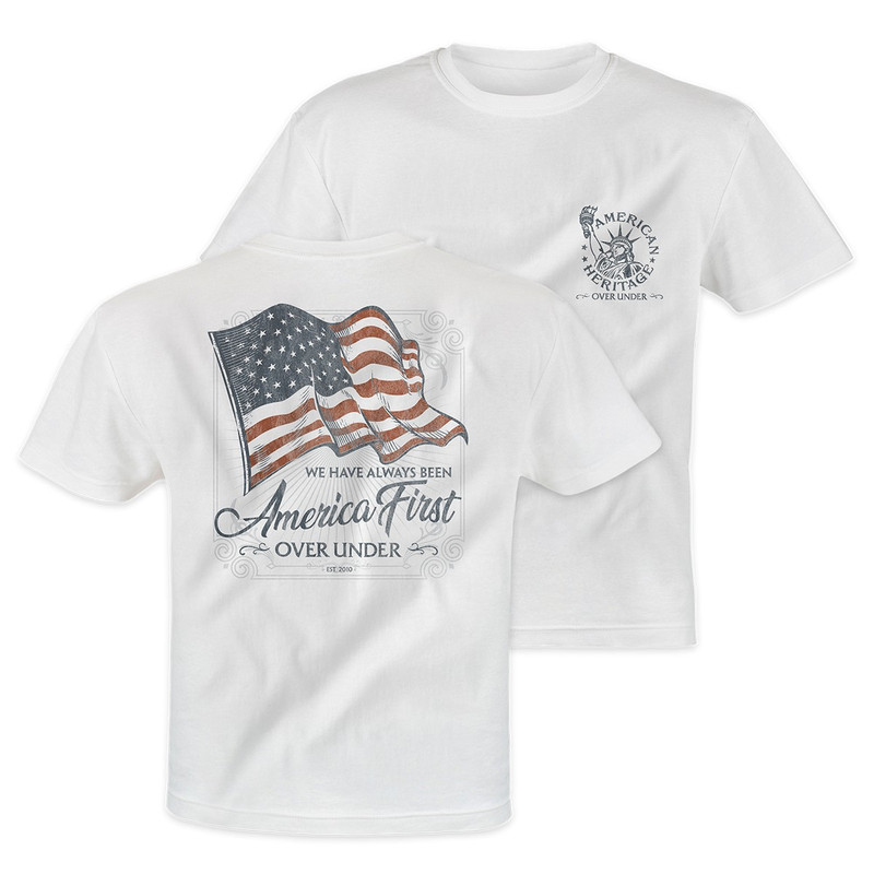 Over Under Short Sleeve America First T-Shirt in White Color