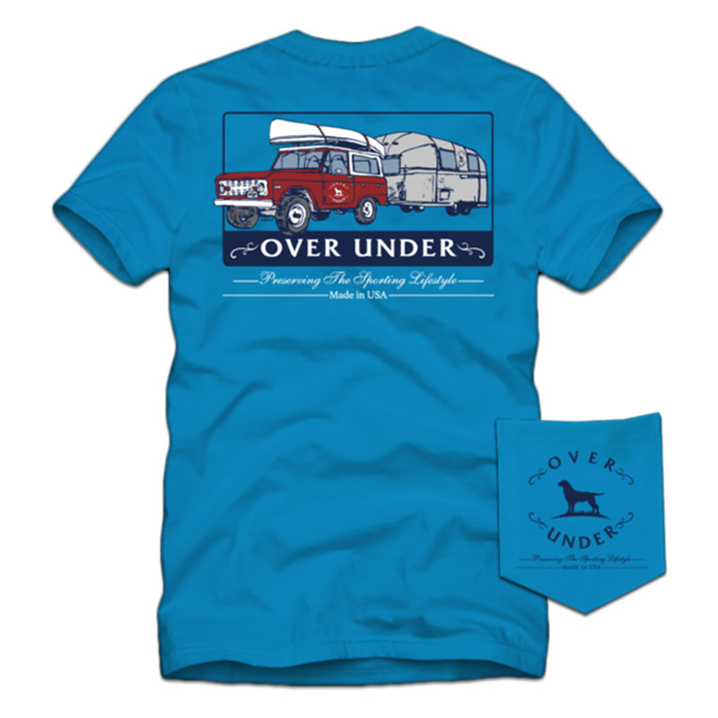 Over Under Youth Short Sleeve On The Road Again T-Shirt in Turquoise Color