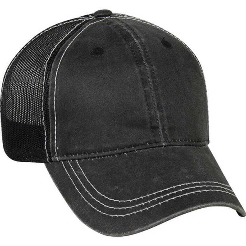 Weathered Cotton/Poly Cap in Black Color
