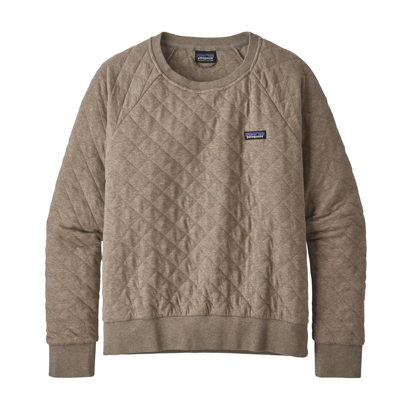 Patagonia Women's Organic Cotton Quilt Crew in Furry Taupe Color