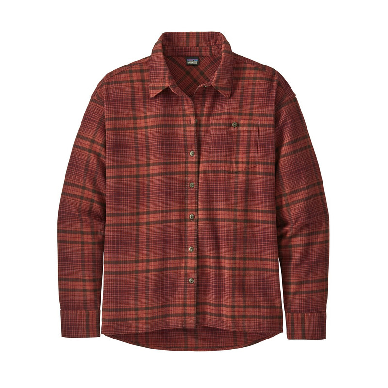 Patagonia Women's Driving Song Flannel Shirt in Brew Big Chicory Red Color