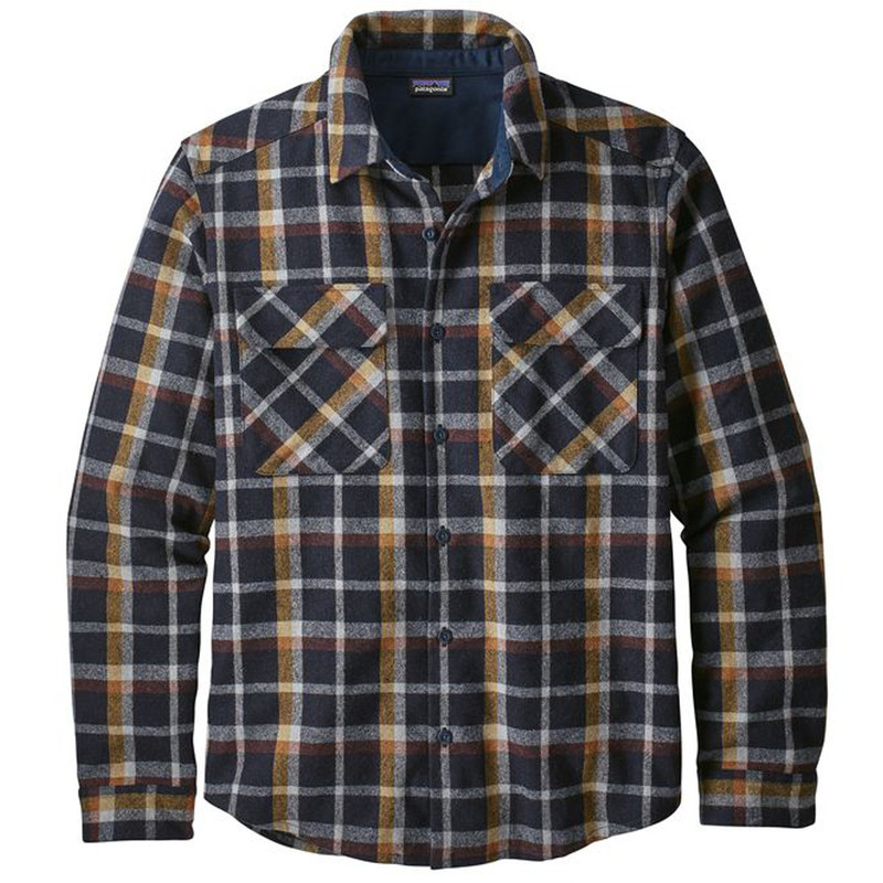Patagonia Recycled Long Sleeve Wool Shirt Rebel Plaid in Navy Blue Color