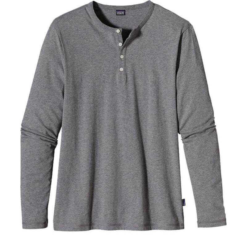 Patagonia Men's Long Sleeve Daily Henley Shirt in Feather Grey Color