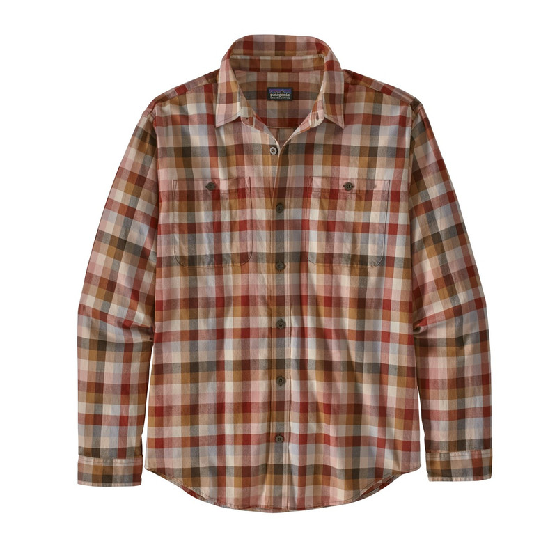 Patagonia Men's Long Sleeve Pima Cotton Shirt in Grazing Tuber Tan Color