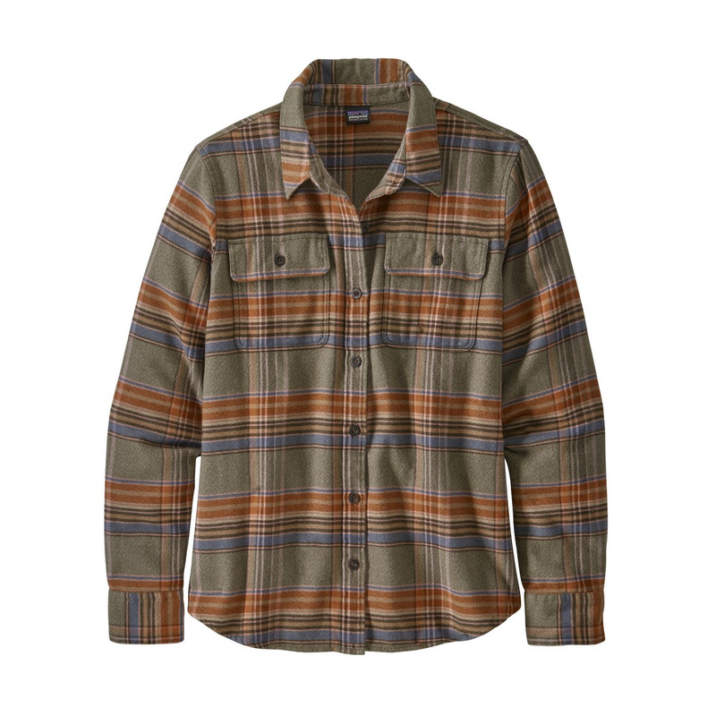 Patagonia Women's Fjord Long Sleeve Flannel Shirt in Cabin Time Barrow Brown