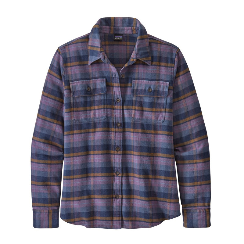 Patagonia Women's Fjord Long Sleeve Flannel Shirt in Pistol Hyssop Purple Color