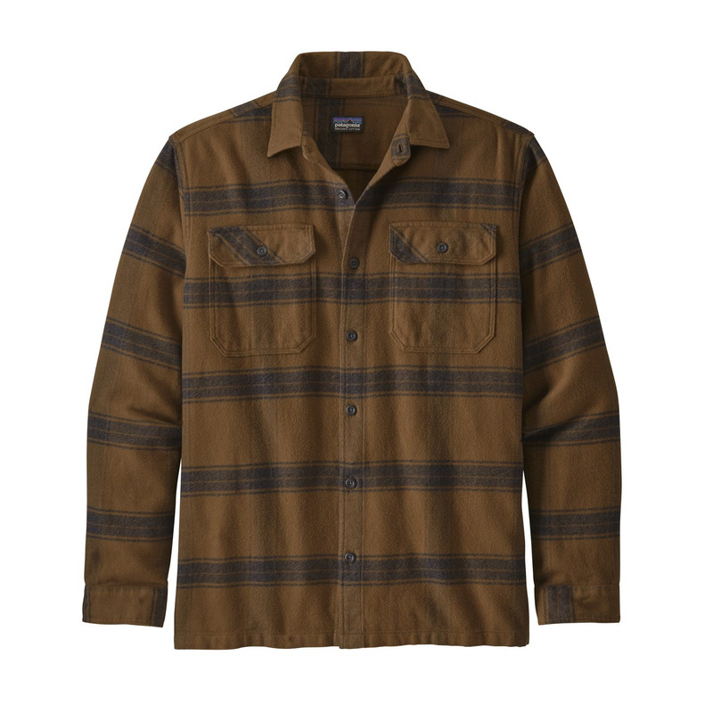 Patagonia Men's Fjord Long Sleeve Flannel Shirt in Owl Brown Color