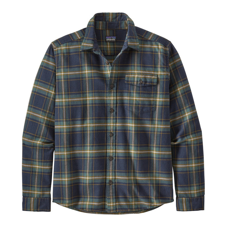 Patagonia Men's Long-Sleeved Lightweight Fjord Flannel Shirt in Lawrence New Navy Color