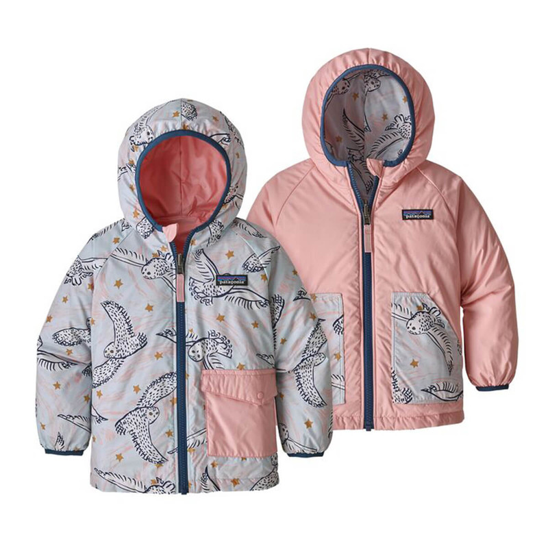 Patagonia Baby Reversible Puff Ball Jacket in Snowy Owl Sky Hawthrone Blue Color