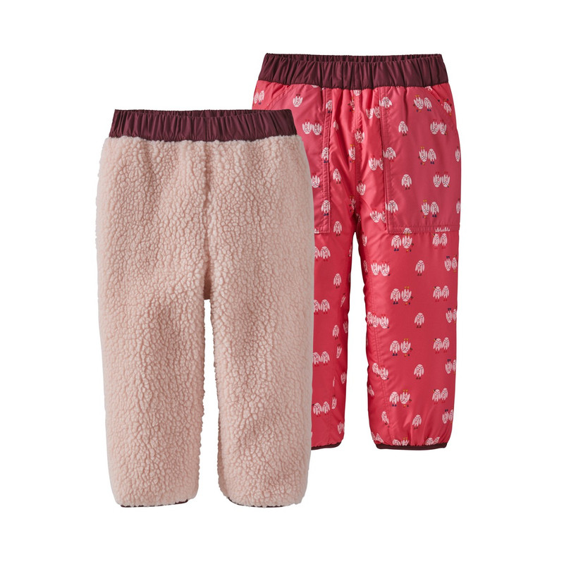 Patagonia Baby Reversible Tribbles Pants in Little Twinkle Owls Range Pink Color