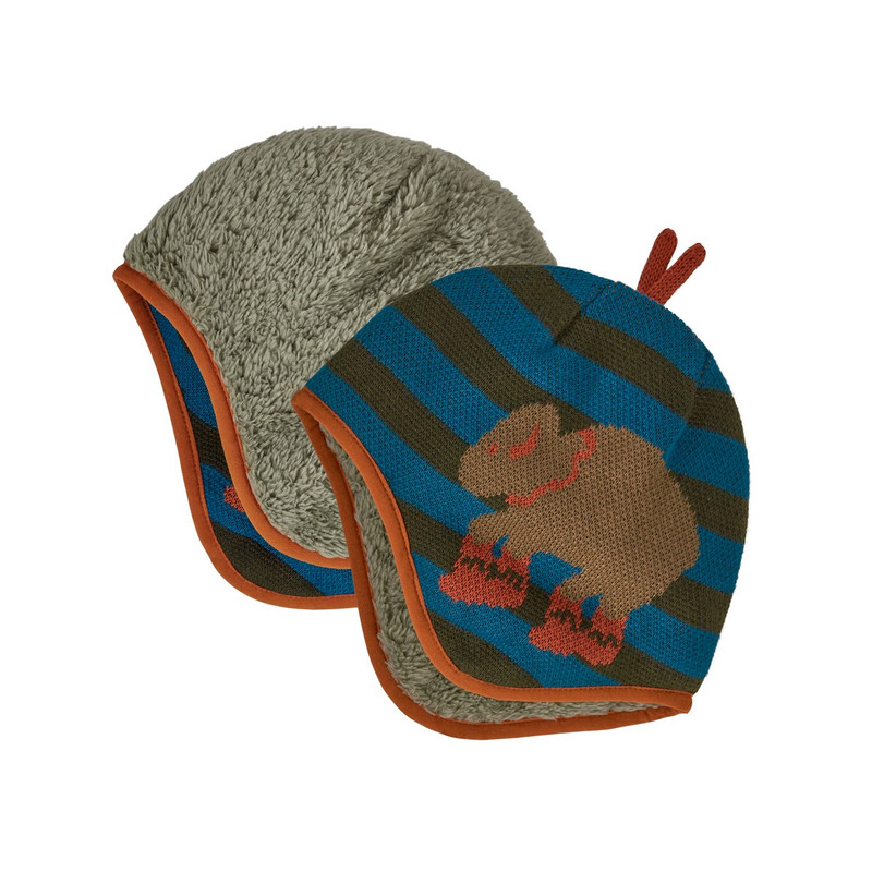 Patagonia Baby Reversible Beanie in Regenerate Stripe Knit Kelp Forest Color