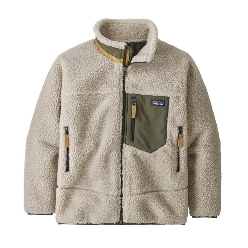 Patagonia Boy's Retro X Jacket in Natural With Ink Black Color