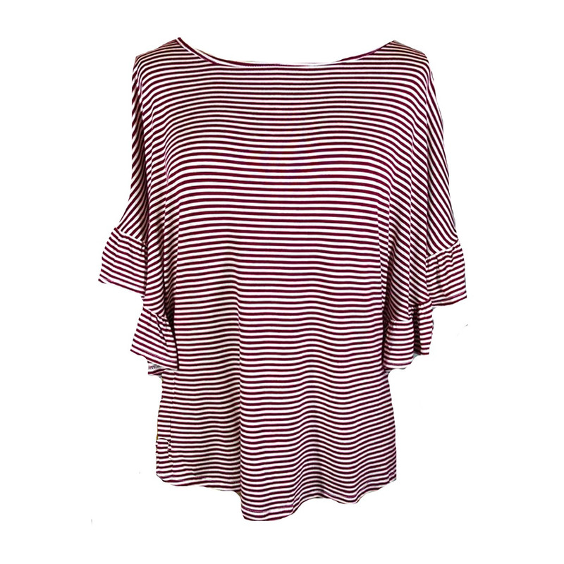 Striped Ruffle Sleeve Top in Burgundy Color