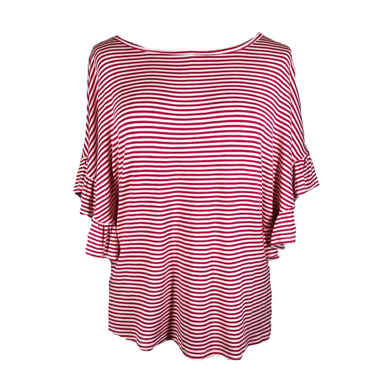 Striped Ruffle Sleeve Top in Red Color