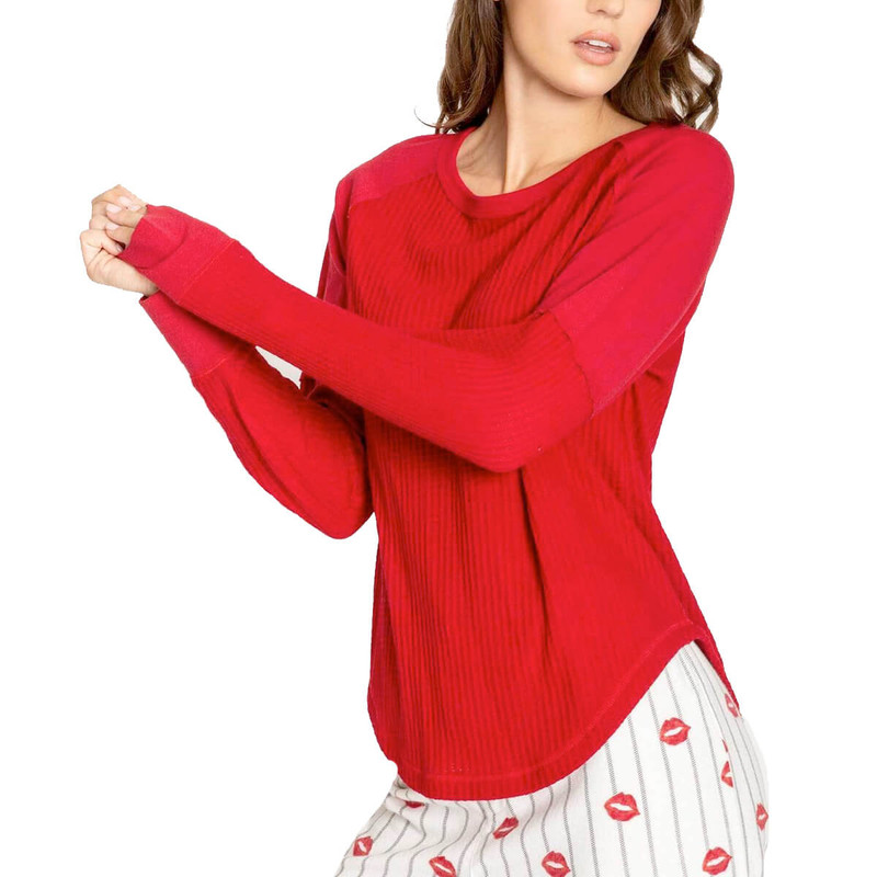 PJ Salvage LS Top Thermal Basics in Red Color