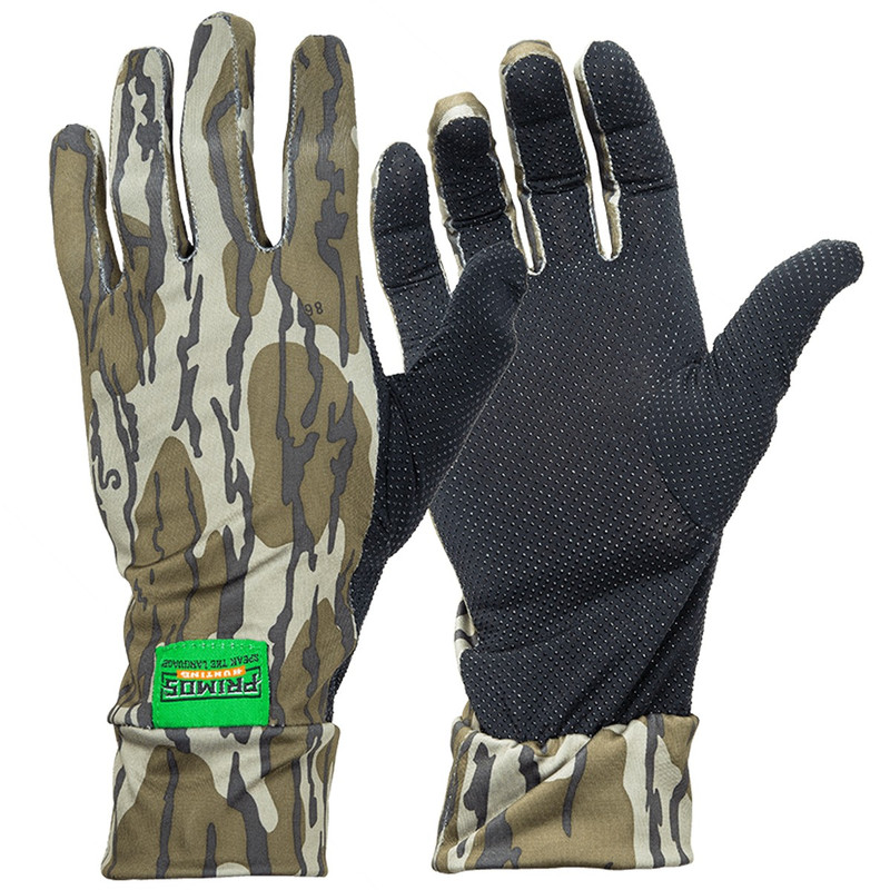 Primos Stretch Fit Camo Glove in Mossy Oak Bottomland Color