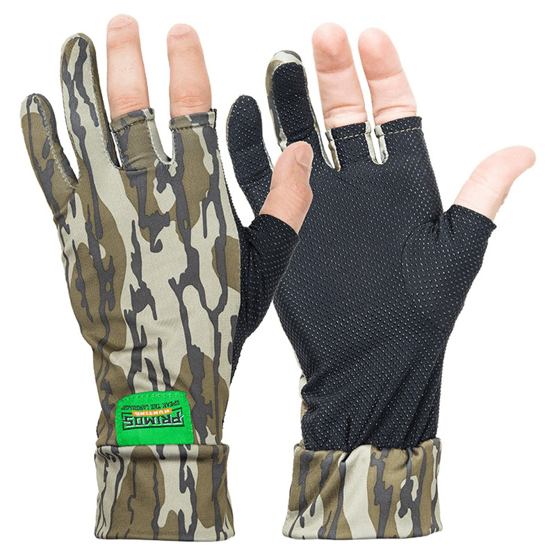 Primos Stretch Fingerless Gloves in Mossy Oak Bottomland Color