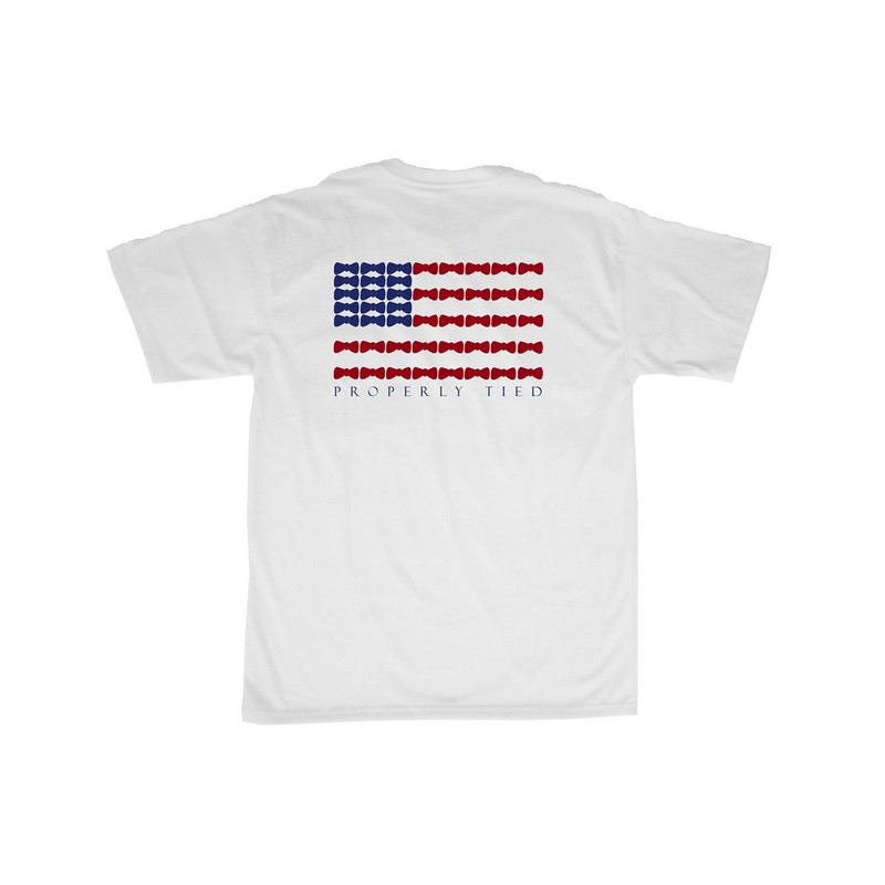 Lil' Duckings Bow Tie Flag Short Sleeve Tee in White Color