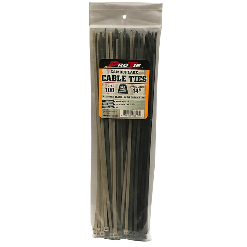 Pro Ties Cable Ties 100 Pack of 14 Inch Zip Ties in Camo Color