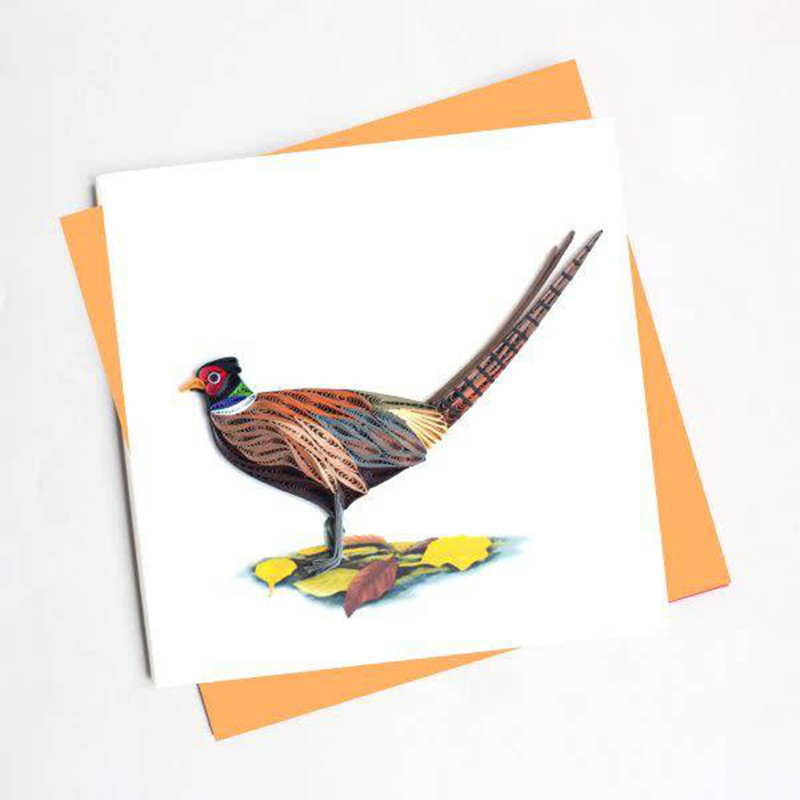 Quilling Cards Ring-necked Pheasant Greeting Card