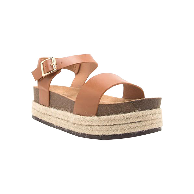 Qupid Cabo Strap Wedge Sandal in Cognac Color